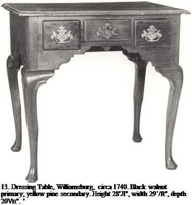 "Подпись: 13. Dressing Table, Williamsburg, circa 1740. Black walnut primary; yellow pine secondary. Height 28'Л"", width 29'/ft"", depth 20VH"". ' '['he Museum of Early Southern Decorative Arts."