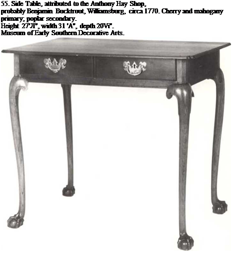 "Подпись: 55. Side Table, attributed to the Anthony Hay Shop, probably Benjamin Bucktrout, Williamsburg, circa 1770. Cherry and mahogany primary; poplar secondary. Height 27'Л"", width 31 'A"", depth 20Vi"". Museum of Early Southern Decorative Arts."
