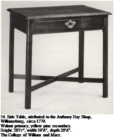 "Подпись: 54. Side Table, attributed to the Anthony Hay Shop, Williamsburg, circa 1770. Walnut primary; yellow pine secondary. Height 28Уг"", width 30'A"", depth 20'A"". The College of William and Mary."