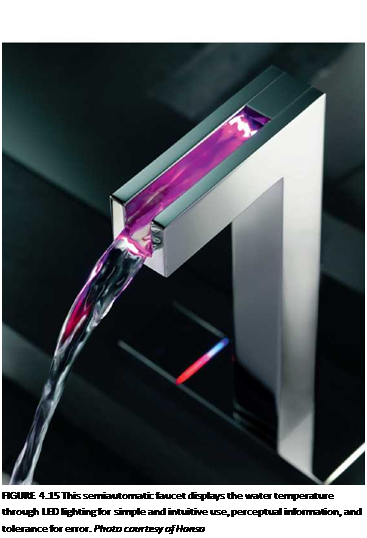 Подпись: FIGURE 4.15 This semiautomatic faucet displays the water temperature through LED lighting for simple and intuitive use, perceptual information, and tolerance for error. Photo courtesy of Hansa