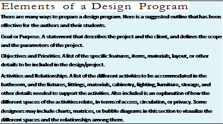 Подпись: Elements of a Design Program There are many ways to prepare a design program. Here is a suggested outline that has been effective for the authors and their students. Goal or Purpose. A statement that describes the project and the client, and defines the scope and the parameters of the project. Objectives and Priorities. A list of the specific features, items, materials, layout, or other details to be included in the design/project. Activities and Relationships. A list of the different activities to be accommodated in the bathroom, and the fixtures, fittings, materials, cabinetry, lighting, furniture, storage, and other details needed to support the activities. Also included is an explanation of how the different spaces of the activities relate, in terms of access, circulation, or privacy. Some designers may include charts, matrices, or bubble diagrams in this section to visualize the different spaces and the relationships among them.