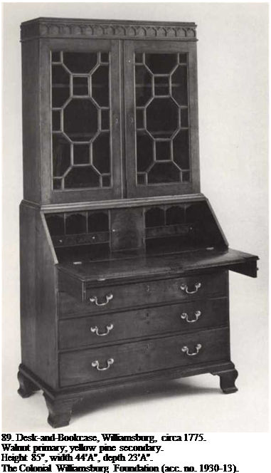 "Подпись: 89. Desk-and-Bookcase, Williamsburg, circa 1775. Walnut primary; yellow pine secondary. Height 85"", width 44'A"", depth 23'A"". The Colonial Williamsburg Foundation (acc. no. 1930-13)."