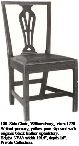 "Подпись: 100. Side Chair, Williamsburg, circa 1770. Walnut primary; yellow pine slip seat with original black leather upholstery. Height 37'A' width 1914"", depth 16"". Private Collection."