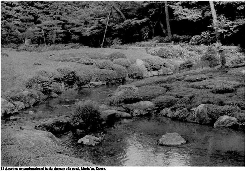 Подпись: 13 A garden stream broadened in the absence of a pond, Murin'an, Kyoto.