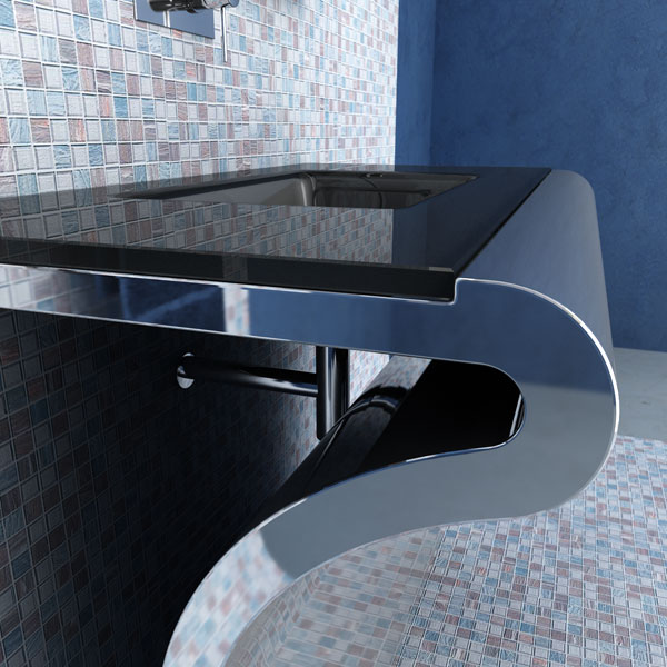 The Italian furniture for a bathroom; steel, glass and the best breeds of a tree