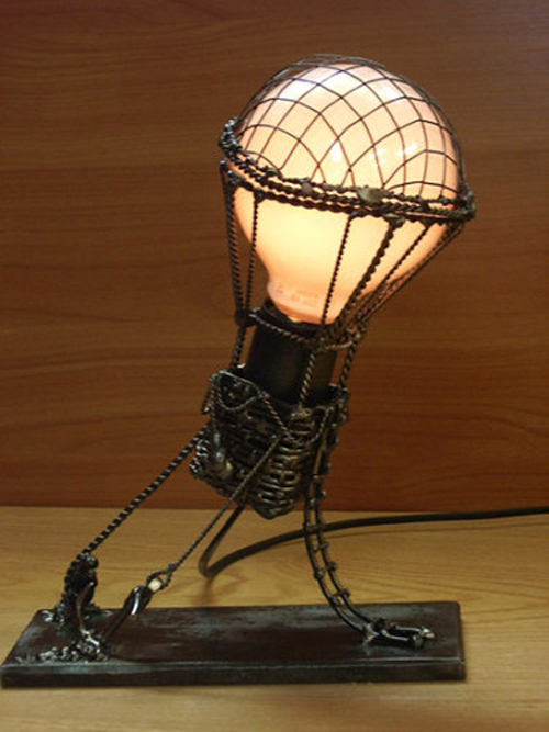 Desk lamp the hands, noteworthy examples with a photo