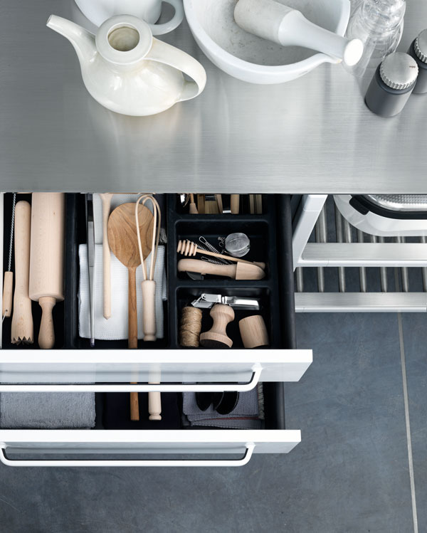 Heading: design of kitchen. Stainless steel with a powder dusting