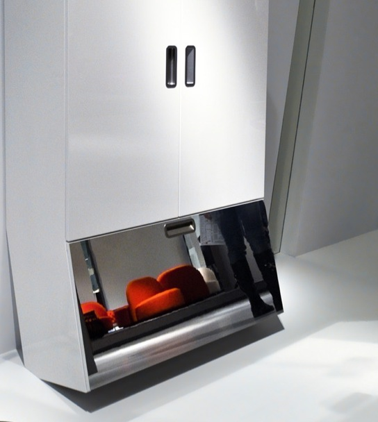 Case for a hall with office for footwear and an inclined mirror