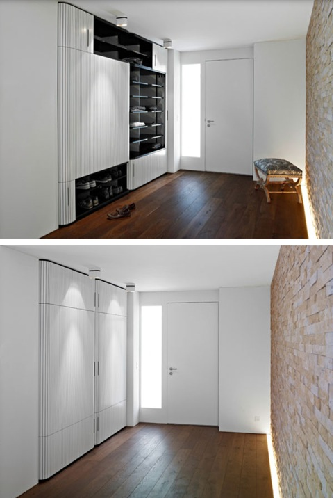Cases and rest rooms with sliding doors