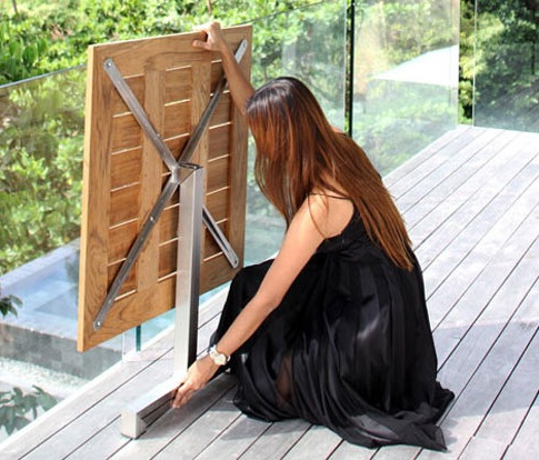 Folding table for a garden
