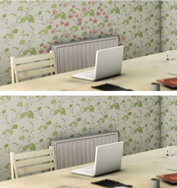 Florets on wall-paper react to heat