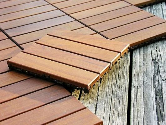 Wood tile for a balcony