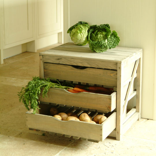 Storage of vegetables in modern kitchen