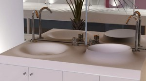 Rectangular sinks with a flat drain