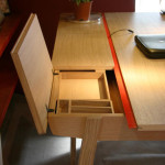 Modern desk with boxes